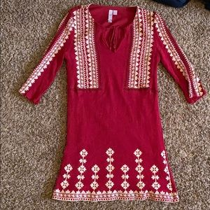 Red abut above the knees dress
